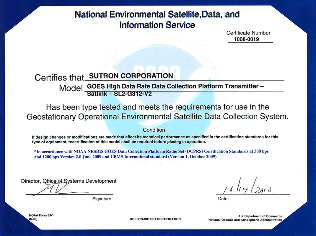 Certifications And Contracts Sutron Corporation