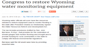 Congress to restore Wyoming water monitoring equipment